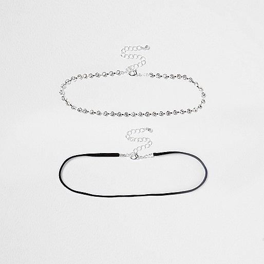 White rhinestone cup chain choker pack