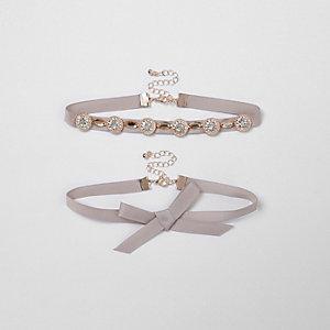 Light pink bow embellished ribbon choker set