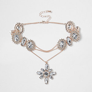 Rose gold tone jewel drop corset choker