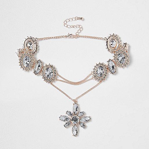 Rose gold tone jewel drop corset choker