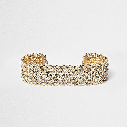 Gold tone diamante choker