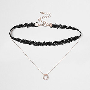 Black lace drop rhinestone circle choker