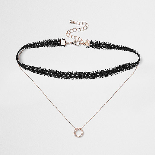 Black lace drop diamante circle choker