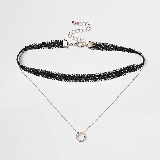 Black lace drop rhinestone circle choker