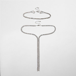 Silver tone diamante drop choker pack