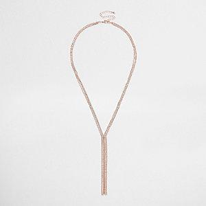 Gold tone sparkle drop necklace