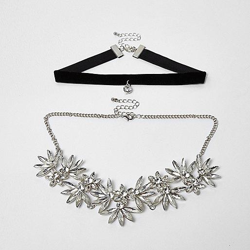 Silver tone floral diamante velvet choker set