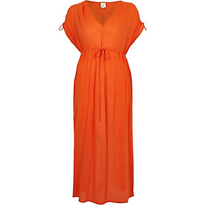 Oranje maxi-jurk met ruches