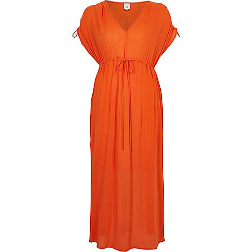 Orange ruched maxi dress