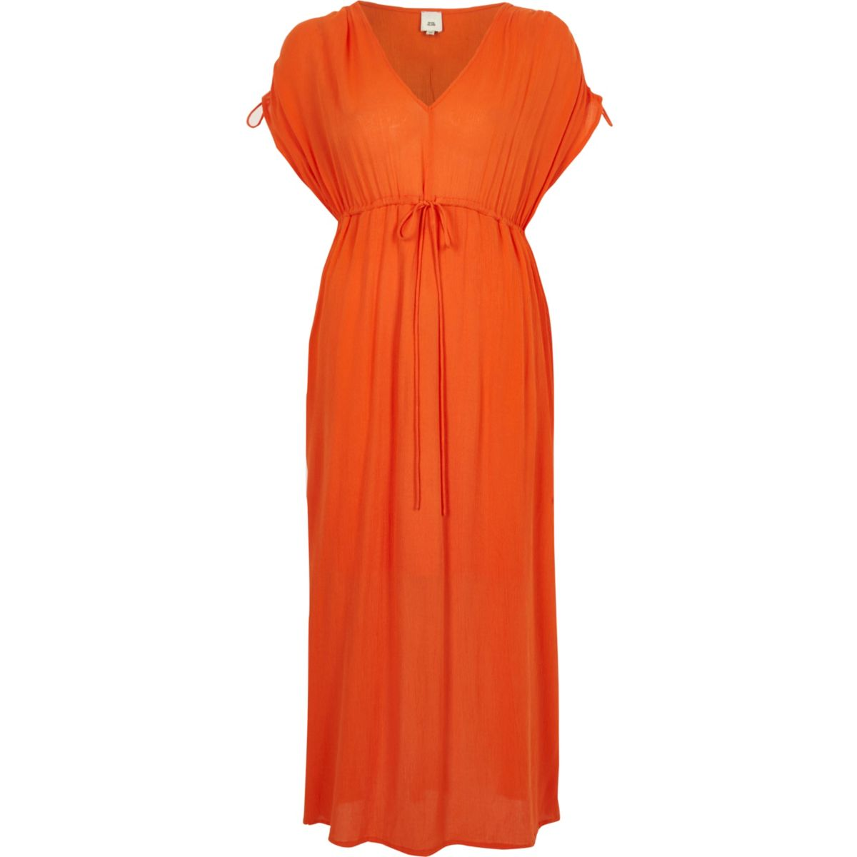 Orange ruched maxi dress