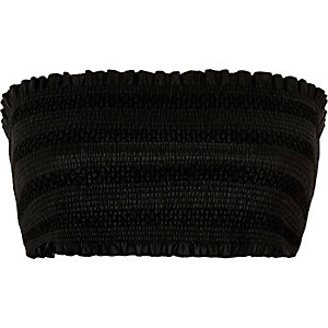 Schwarzes Crop Top aus Lederimitat