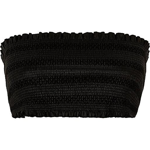 Crop top bandeau en cuir synthétique noir plissé