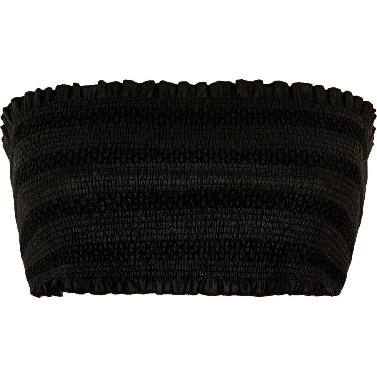 Black faux leather shirred bandeau crop top