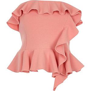 Pink frill bandeau crop top