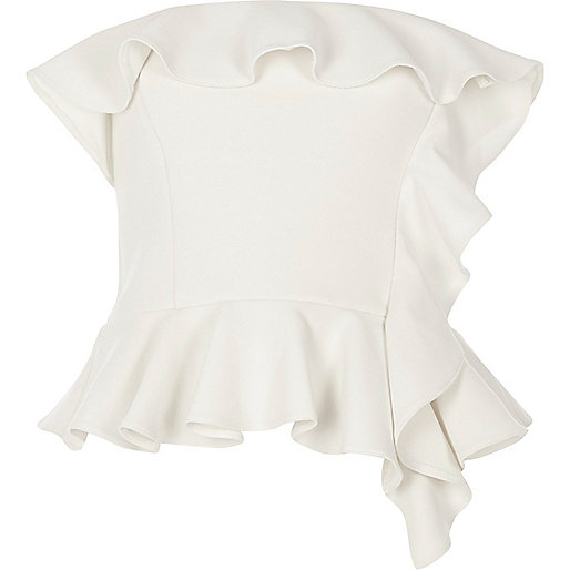 Cream frill bandeau crop top