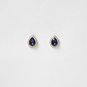 Gold tone teardrop stud earrings