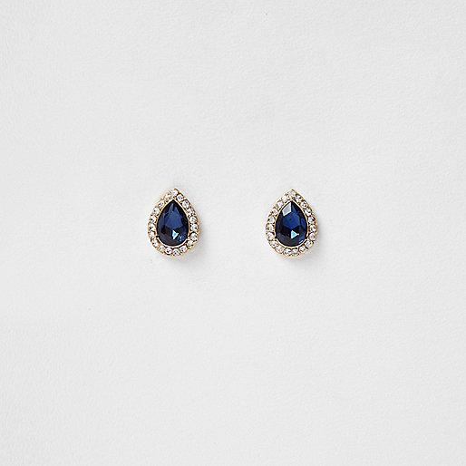 Gold tone teardrop stud earrings