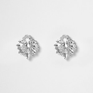 Silver tone crystal cluster stud earrings