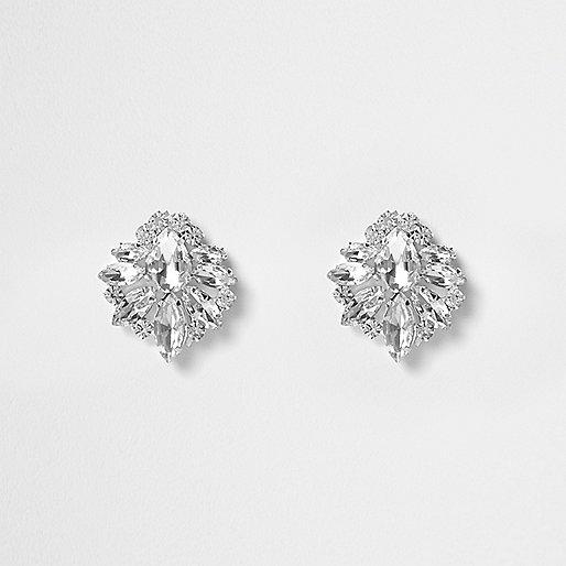 Silver tone crystal cluster stud earrings