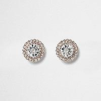 Rose gold tone round diamante stud earrings