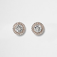 Rose gold tone round rhinestone stud earrings