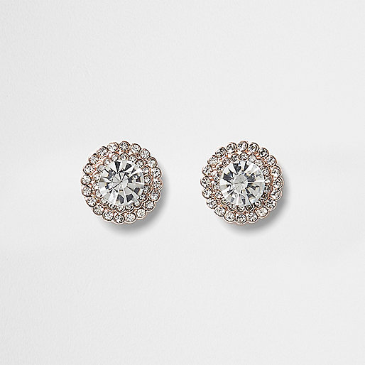 Rose gold tone round diamante stud earrings