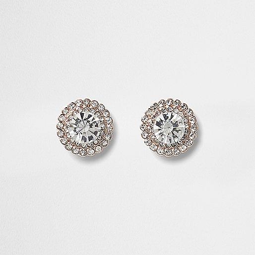 Rose gold tone round rhinestone stud earrings