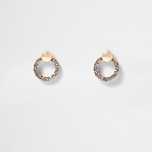 Gold tone rhinestone circle stud earrings