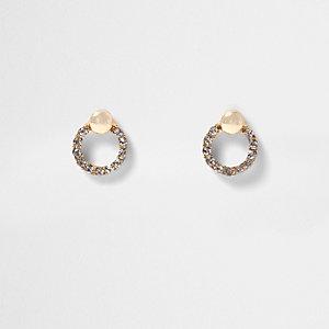 Boucles d'oreilles dorées à strass circulaires