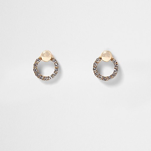 Gold tone rhinestone circle stud earrings
