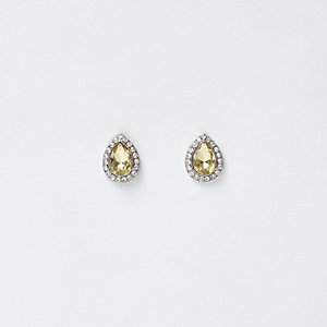 Silver tone rhinestone teardrop stud earrings