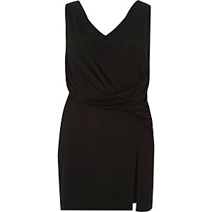 Black twist front sleeveless longline top