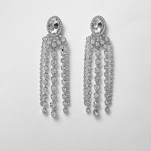 Diamante jewel dangle earrings