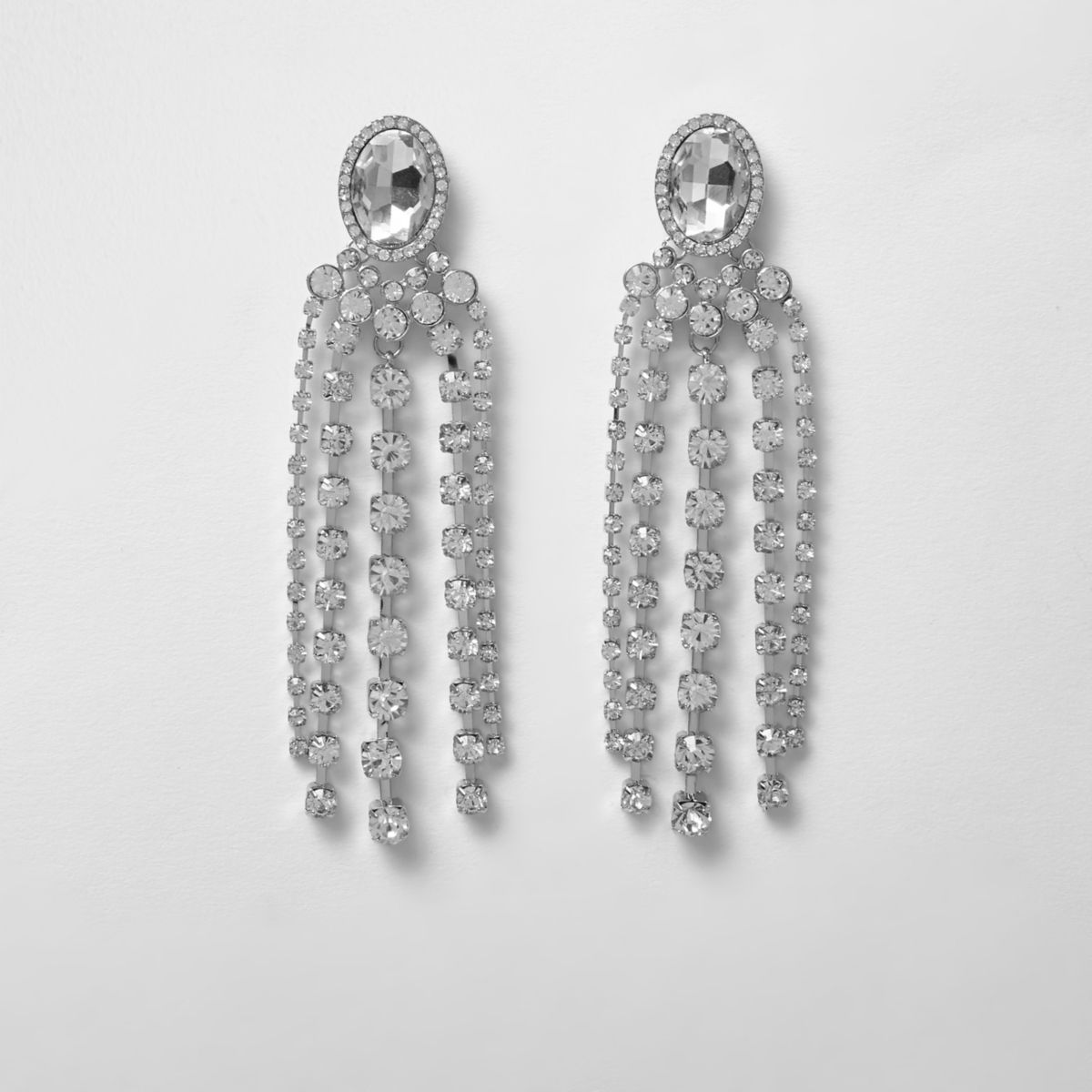 Rhinestone jewel dangle earrings