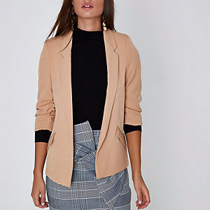 Nude ruched sleeve blazer