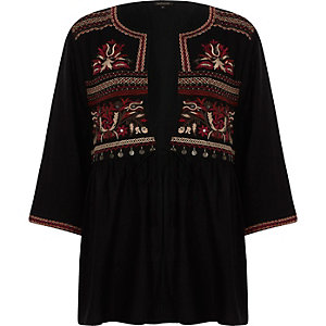 Black embroidered tie up kimono top