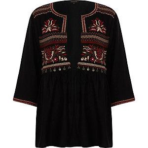 Schwarzes Kimono-Oberteil mit Verzierung