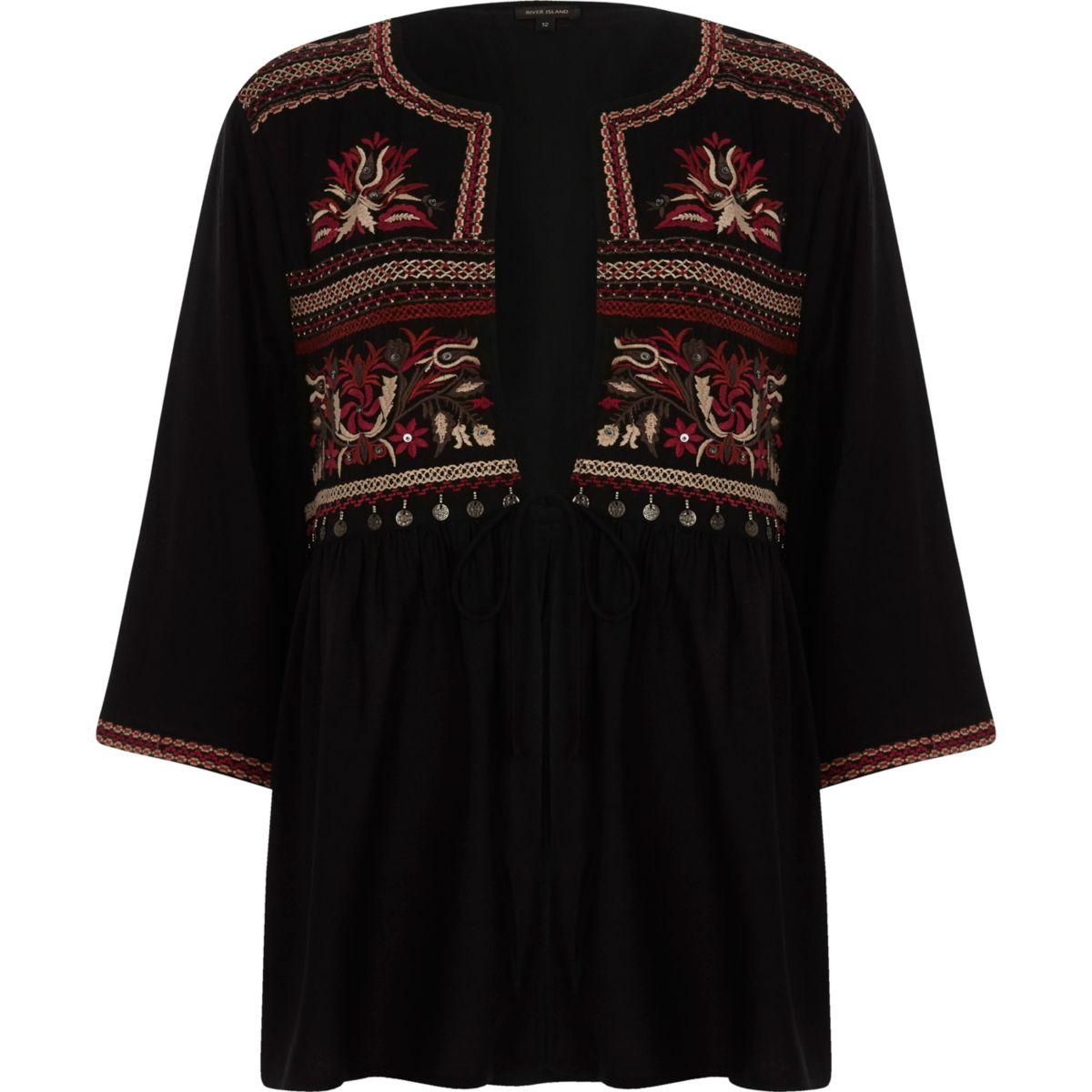 Black embroidered tie up kimono top