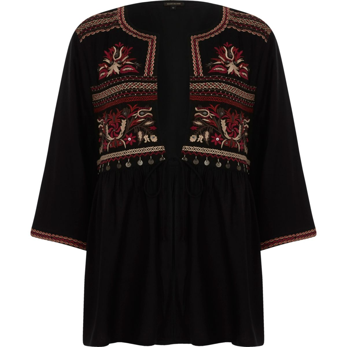 Zwarte kimonotop met strikken en borduursel