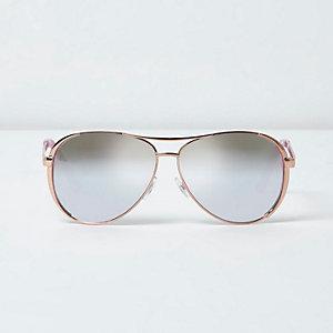 Lunettes de soleil aviateur effet miroir doré rose
