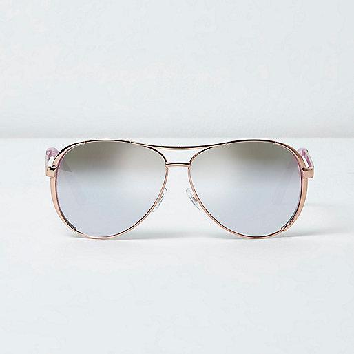 Rose gold tone aviator mirror sunglasses