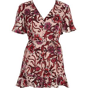 Combi-short façon robe à fleurs rose effet dévoré