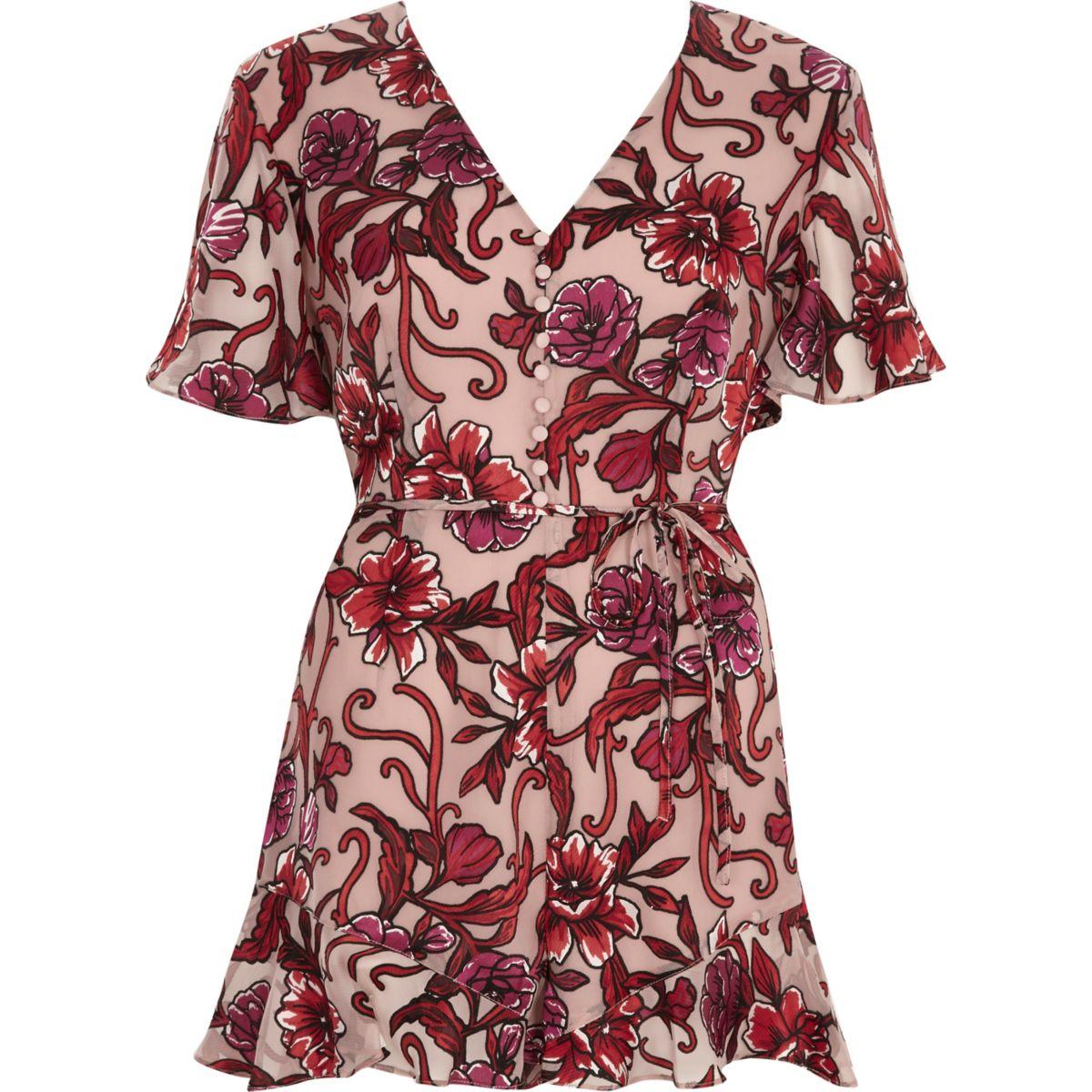 Pink floral devore tea dress style romper