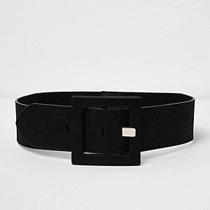 Black satin square buckle belt