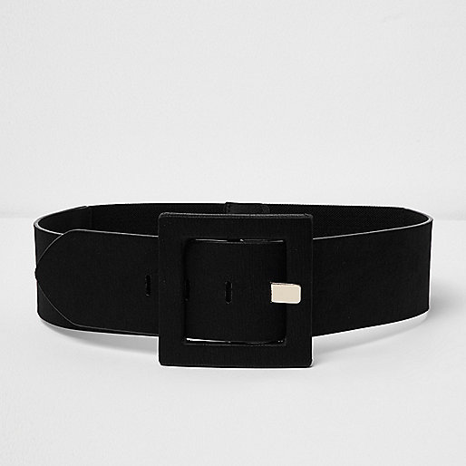 Black satin square buckle belt