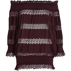 Dark purple lace shirred bardot top