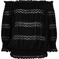 Black lace shirred bardot top