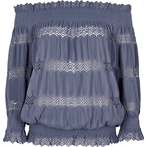 Blue lace shirred bardot top