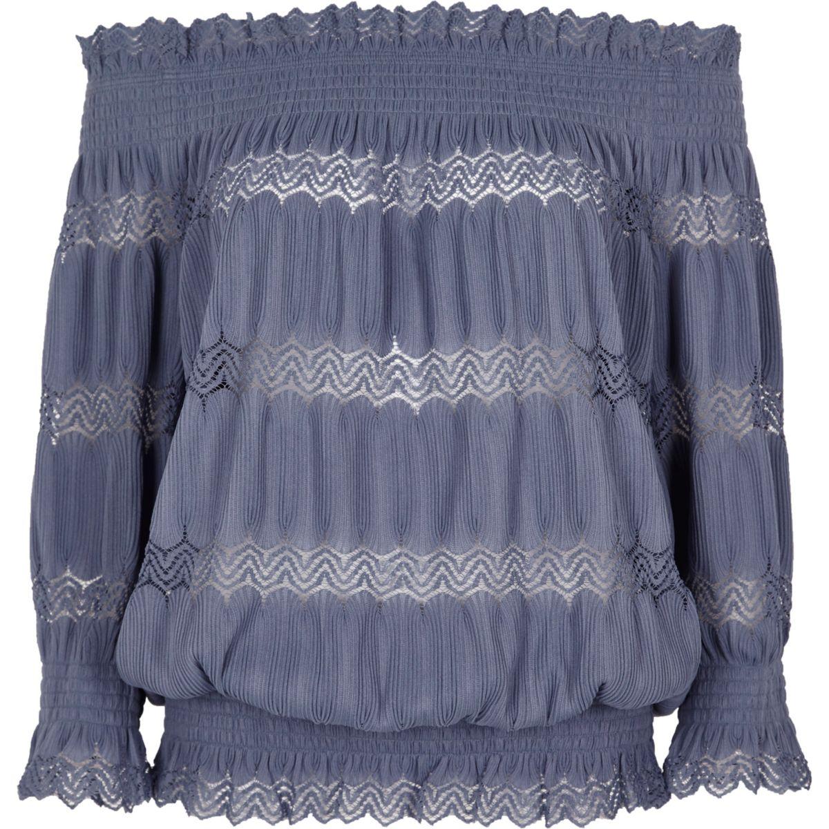 Blue lace shirred bardot top