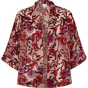 Veste cape à fleurs effet dévoré rose courte